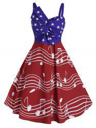 Plus Size Vintage American Flag Musical Notes Print Twist Dress -