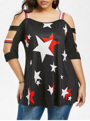Plus Size Star Pattern Ladder Cutout Cold Shoulder Tee -
