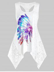 Plus Size Lace Insert Feather Print Knotted Handkerchief  Tank Top -