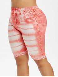High Waisted 3D Printed Plus Size Knee Length Jeggings -
