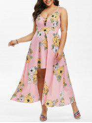 Plus Size Floral Print Overlay Maxi Dress -