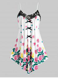 Plus Size Flower Asymmetrical Lace Panel Backless Bowknot Cami Top -