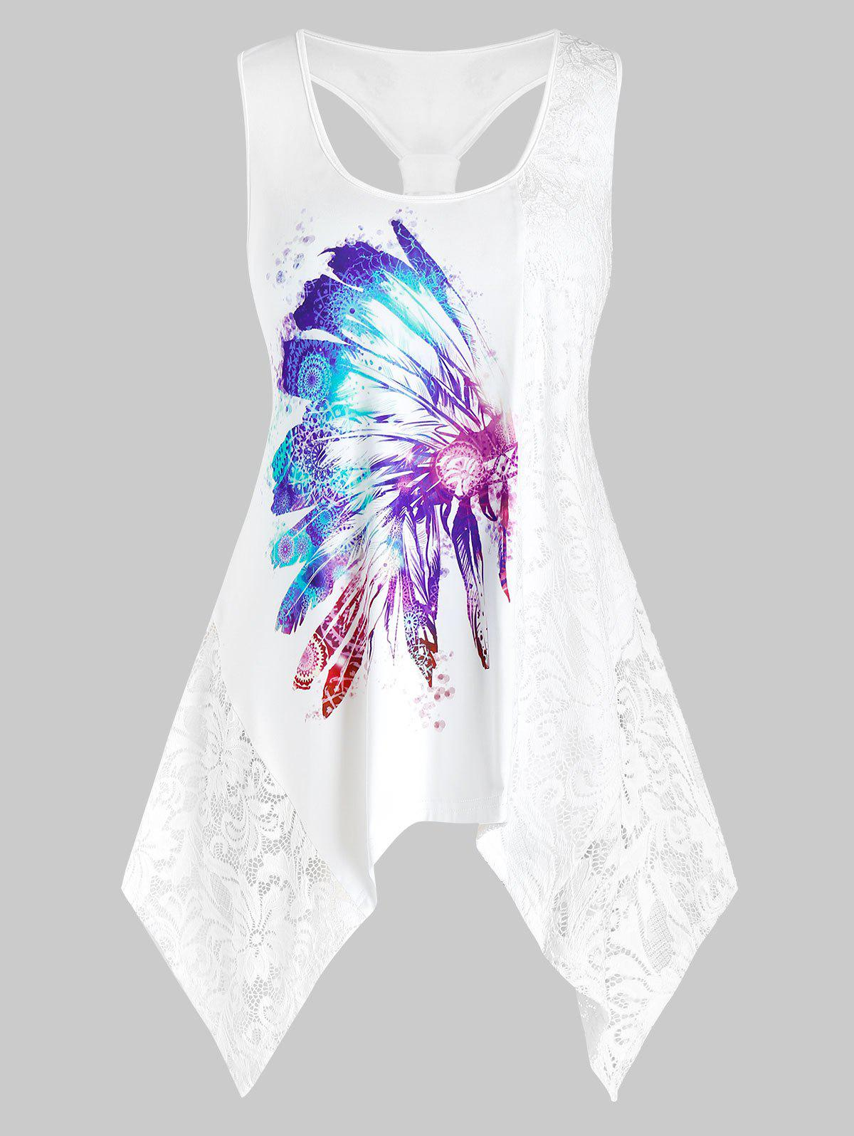 Hot Plus Size Lace Insert Feather Print Knotted Handkerchief  Tank Top