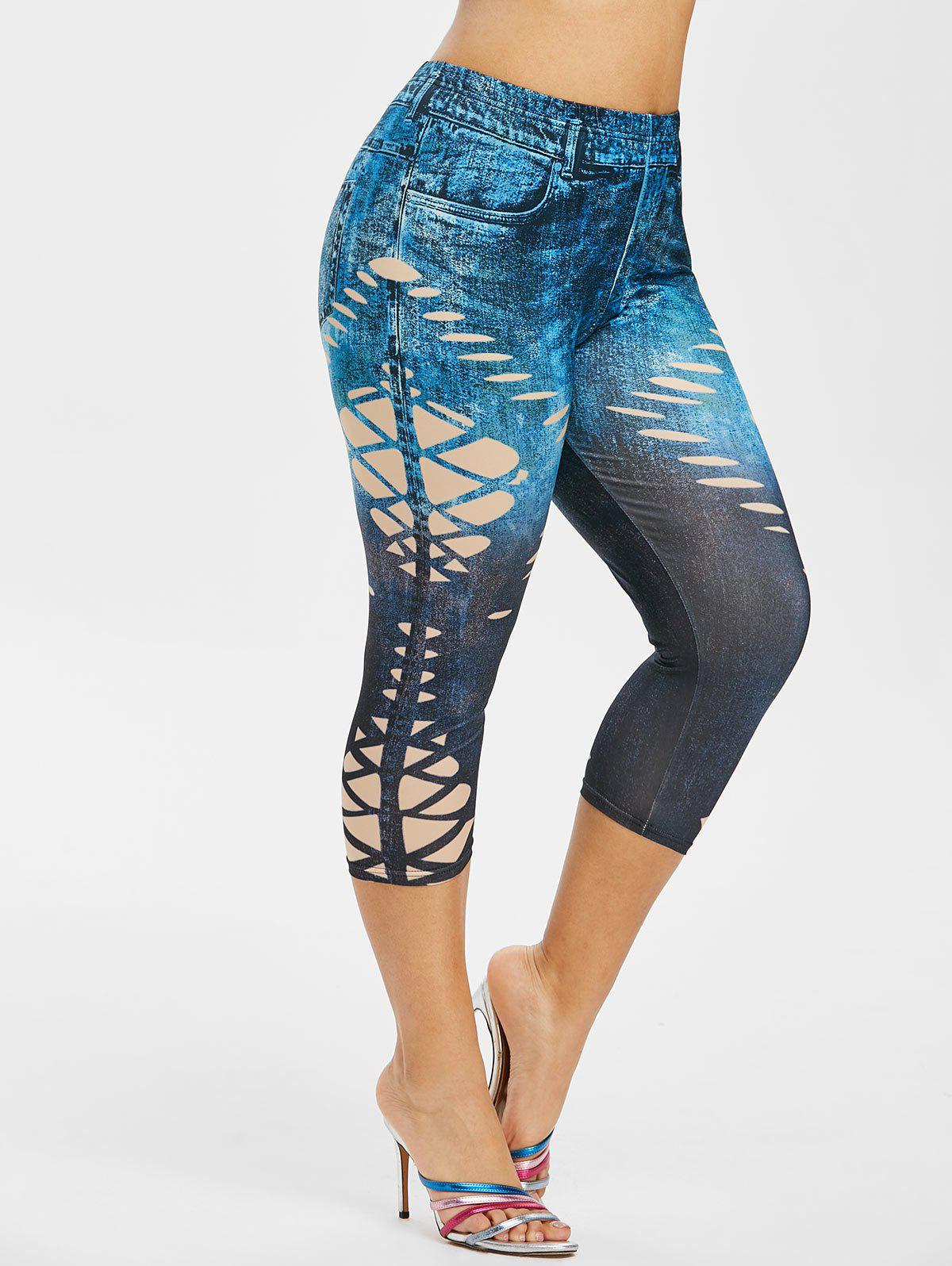 Fashion Plus Size 3D Print Tie Dye Capri Jeggings