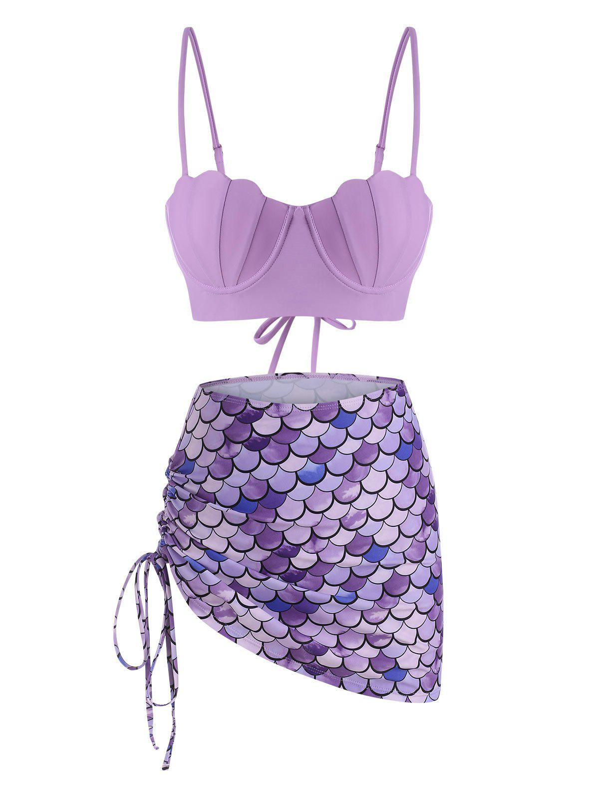 New Scale Print Lace-up Mermaid Push Up Three Piece Swimsuit