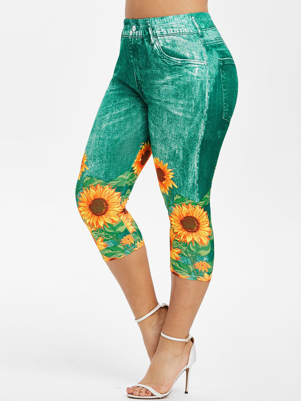 Hot Plus Size Sunflower 3D Print Capri Jeggings