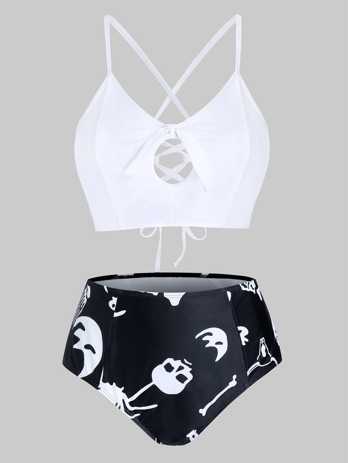 Outfit Plus Size Skull Print Knotted Cross Lace Up Tankini Swimwear