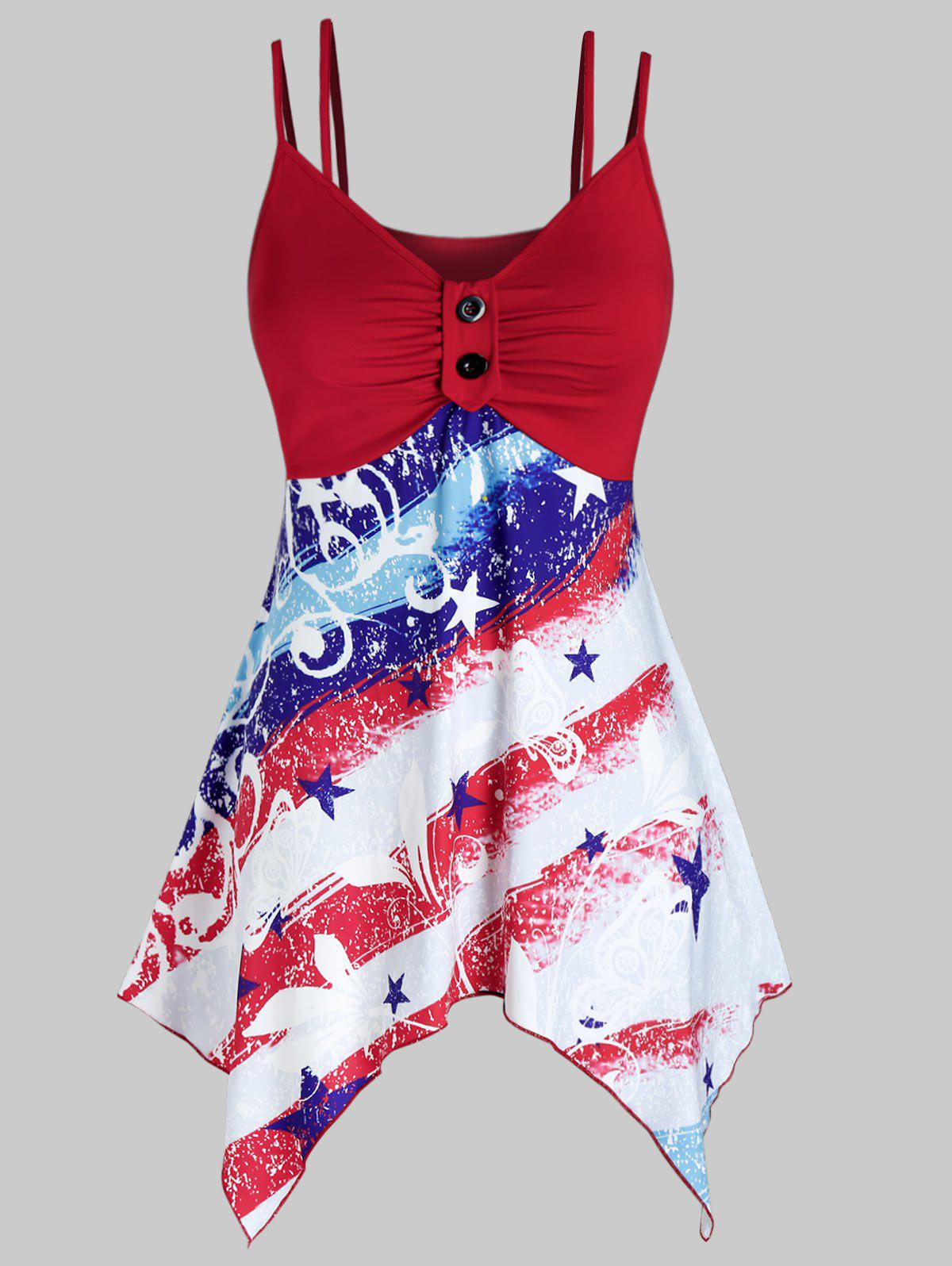 Best Plus Size American Flag Handkerchief Ruched Dual Strap Cami Top