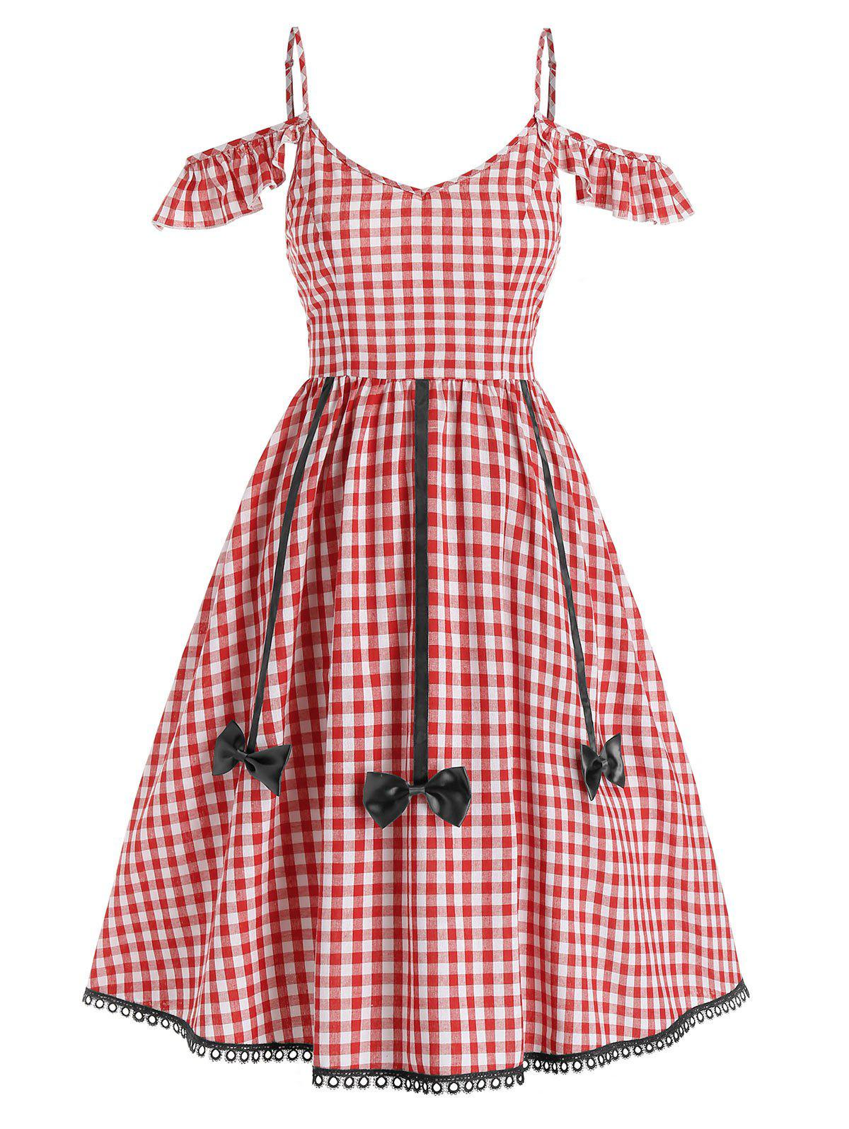 Store Gingham Print Open Shoulder Bow Flare Dress
