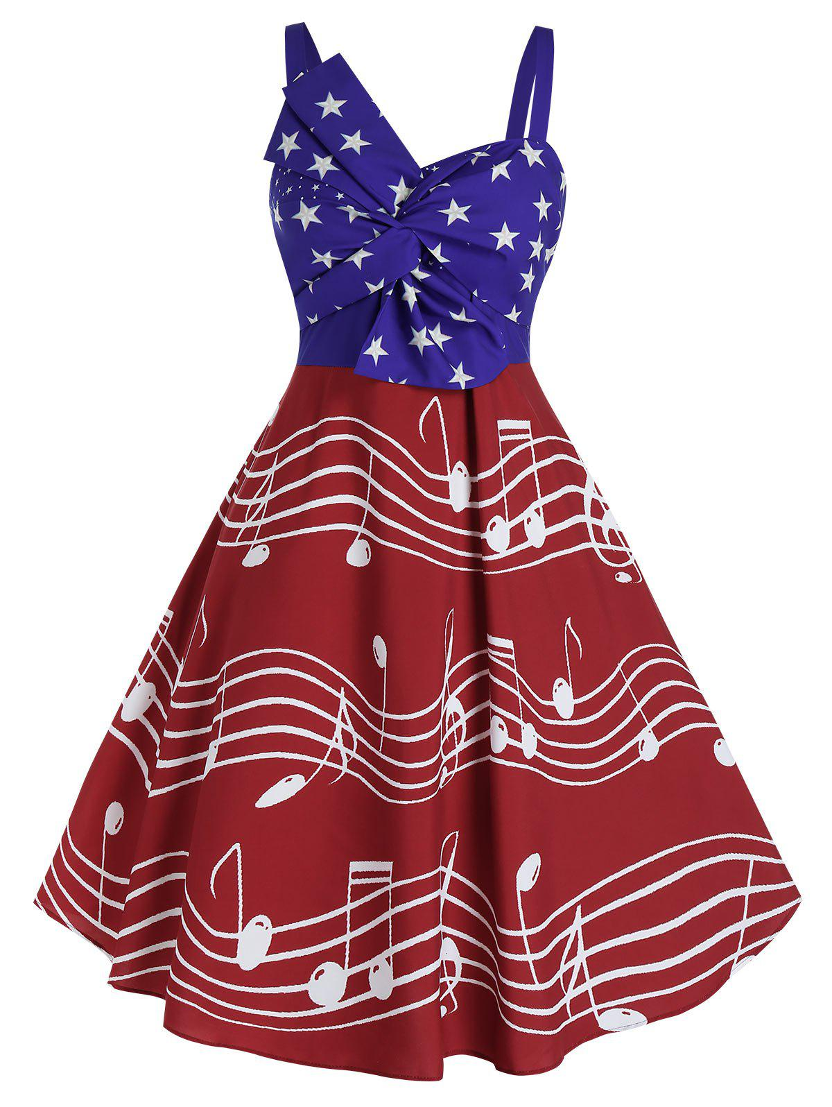 Trendy Plus Size Vintage American Flag Musical Notes Print Twist Dress