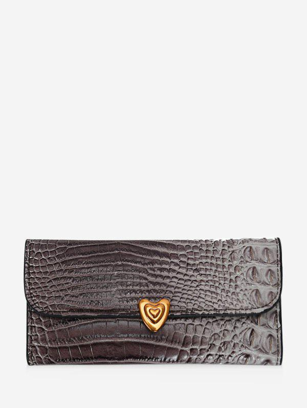 Chic Heart Textured Tri-fold Multi-function Clutch Wallet