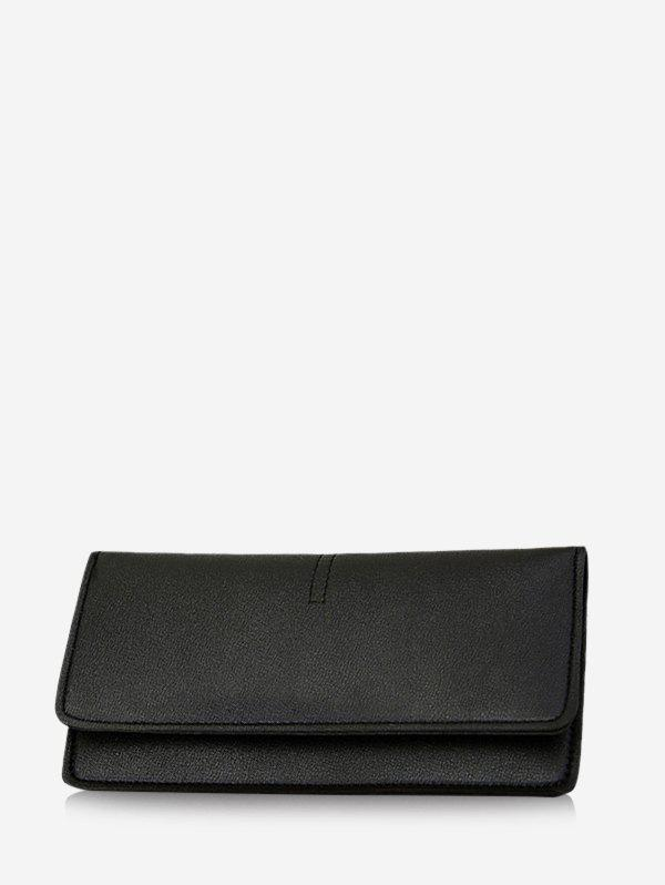 Fancy Snap Button Plain Leather Long Clutch Wallet