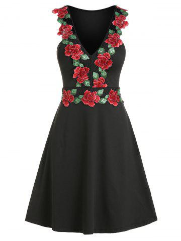 Floral Embroidery V Neck Mesh Panel Sleeveless Dress