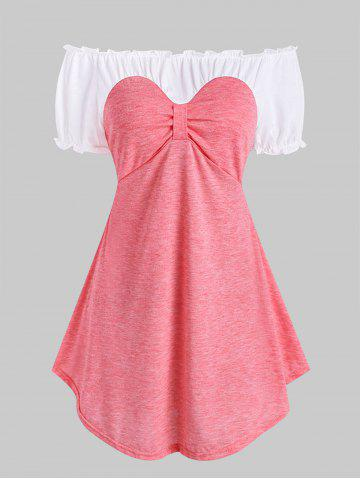 Frilled Two Tone Bow Longline Top