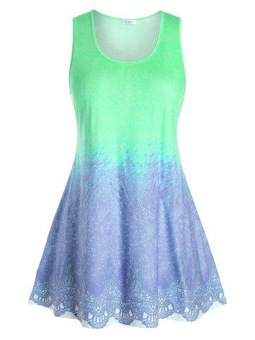 Plus Size Tie Dye Pattern Tunic Tank Top - GREEN PEAS - 4X