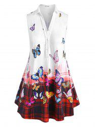 Plus Size Ombre Plaid Butterfly Print Tank Top -