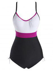 Colorblock Cinched Back Knot One-piece Swimsuit -
