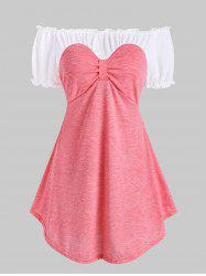 Frilled Two Tone Bow Longline Top -