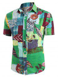 Leaf Pattern Block Short Sleeve Ethnic Shirt -