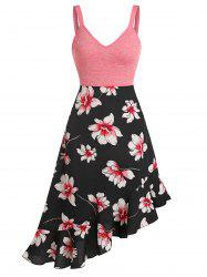 Floral Print Ruffled Hem Empire Waist Cami Dress -