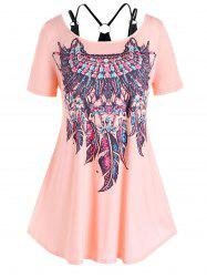 Plus Size Feather Print Faux Twinset T Shirt -
