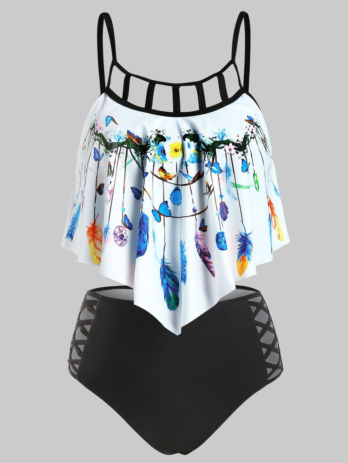 Buy Butterfly and Feather Print Criss-cross Padded Tankini Set