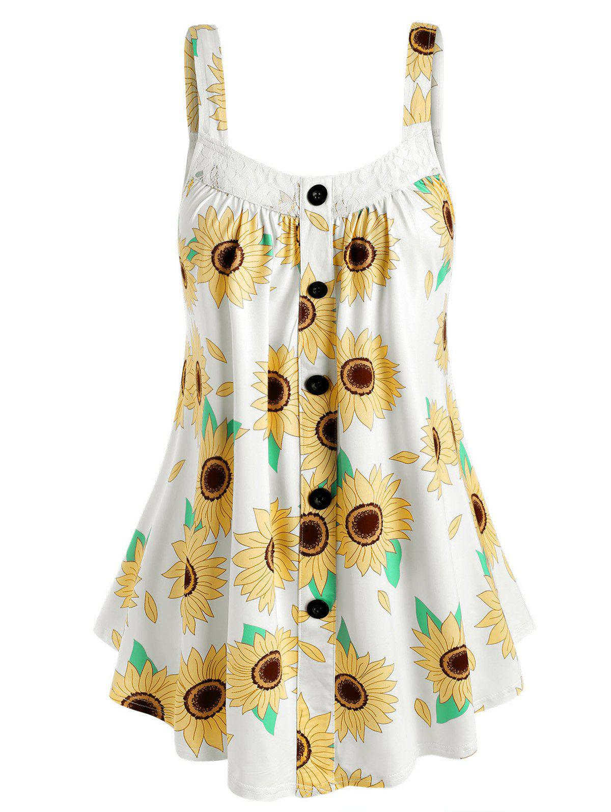 Outfit Plus Size Sunflower Print Tent Tank Top