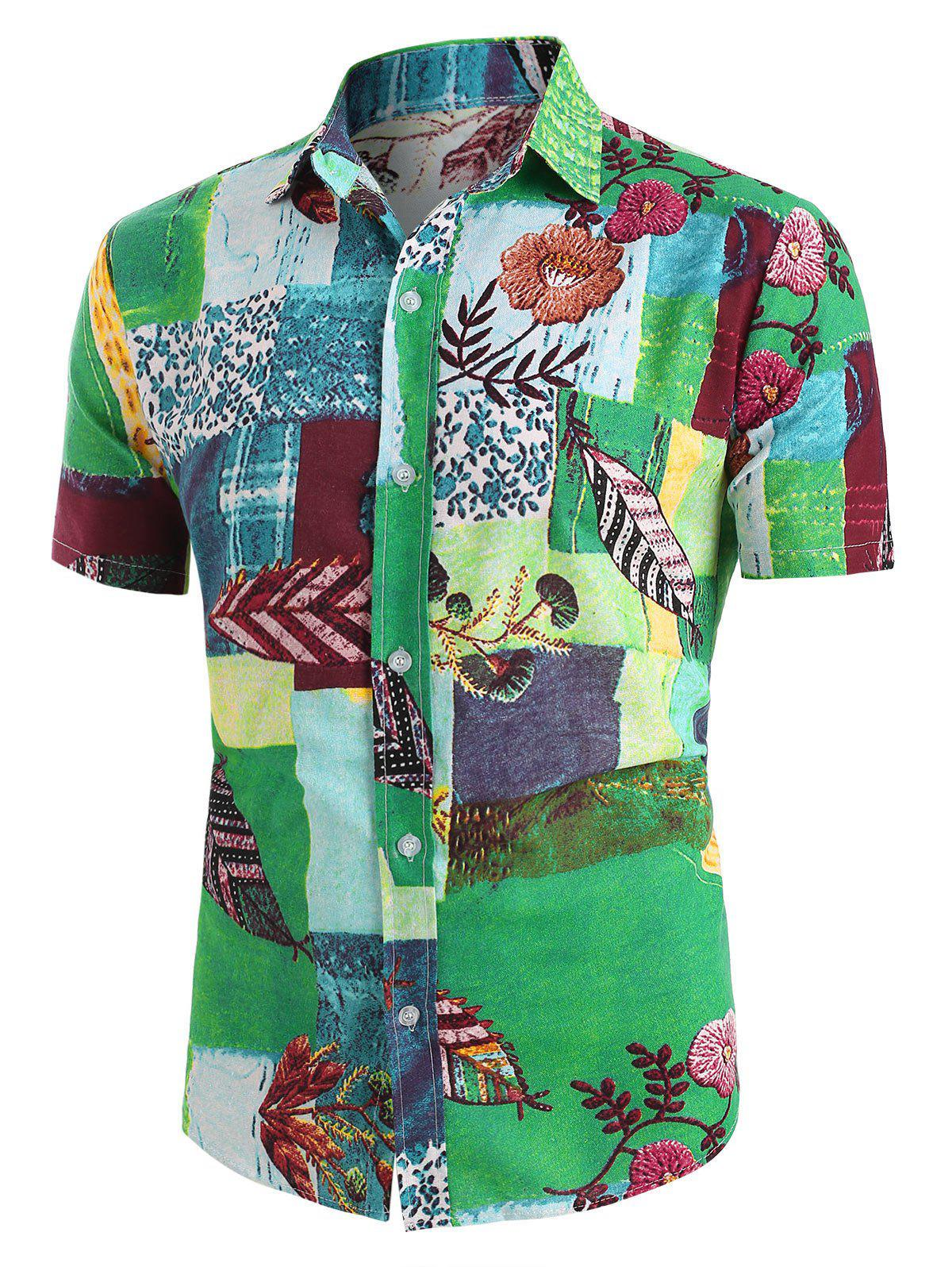 Sale Leaf Pattern Block Short Sleeve Ethnic Shirt