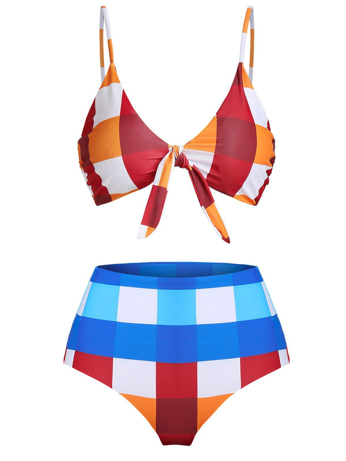Discount Checked Front Knot High Waisted Bikini Swimwear