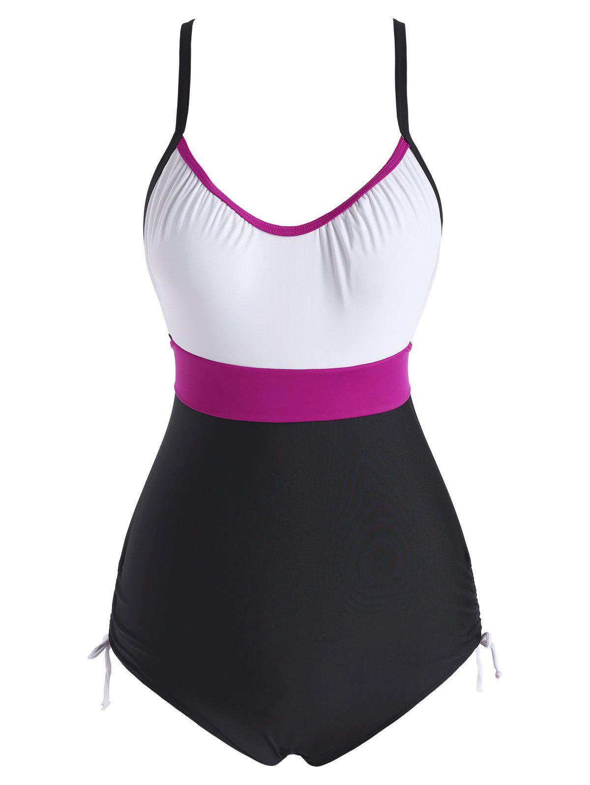 New Colorblock Cinched Back Knot One-piece Swimsuit