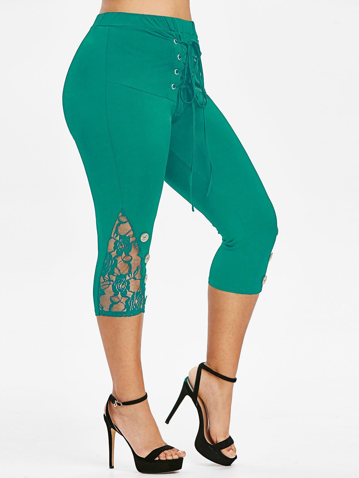 Plus Size Lace Mesh Mock Button Lace Up Pants Rosegal