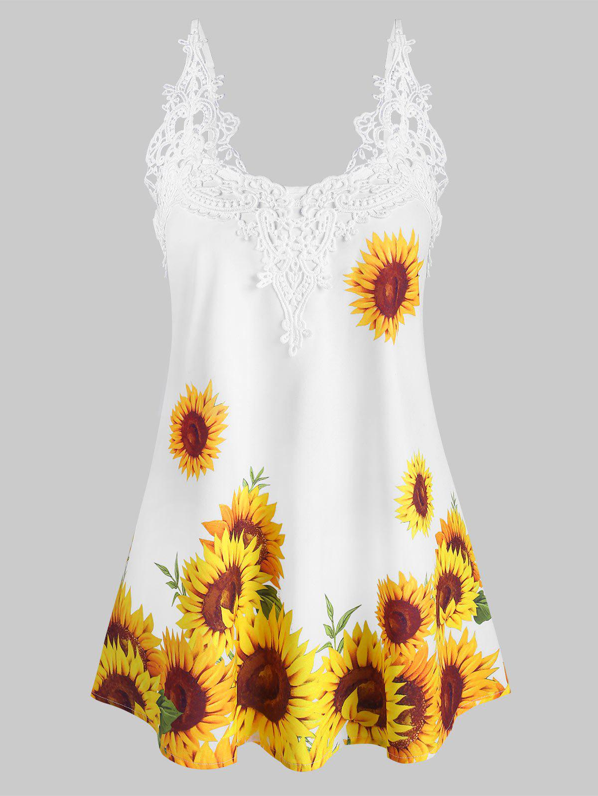 Discount Crochet Lace Panel Sunflower Longline Cami Top