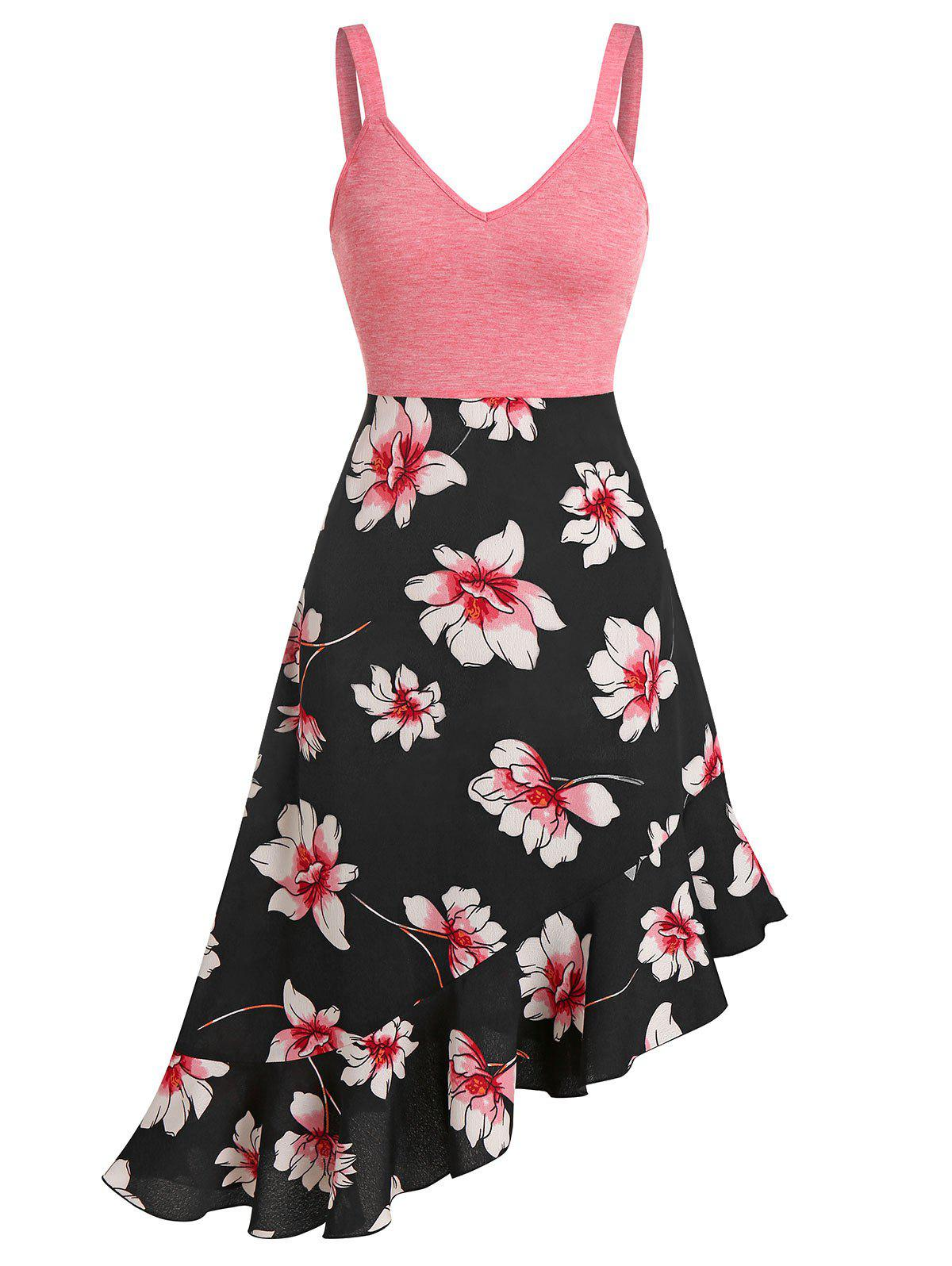 New Floral Print Ruffled Hem Empire Waist Cami Dress