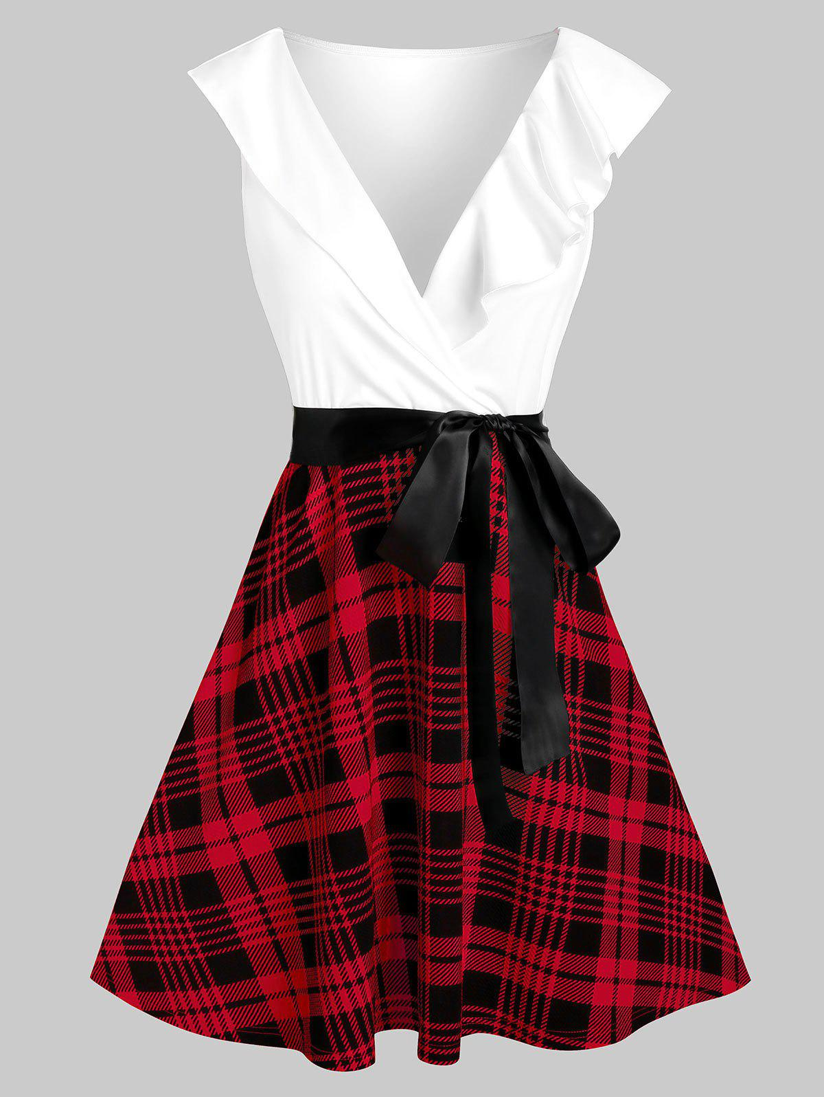 Discount Plaid Print Plunge Neck Belted Dress