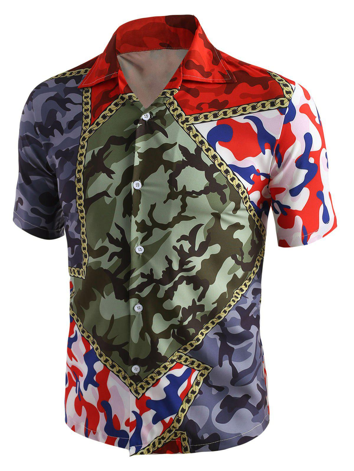 Outfits Camouflage Chain Print Short Sleeve Shirt