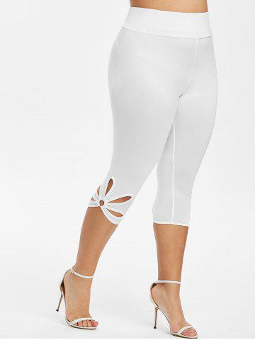 Capri Metal Ring Cut Out Plus Size Leggings - WHITE - 5X
