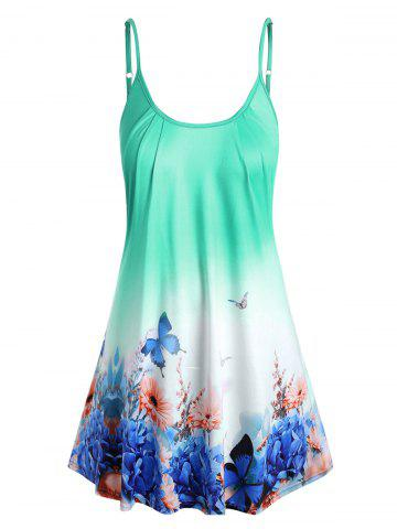 Plus Size Ombre Butterfly Print Cami Top - LIGHT GREEN - 5X