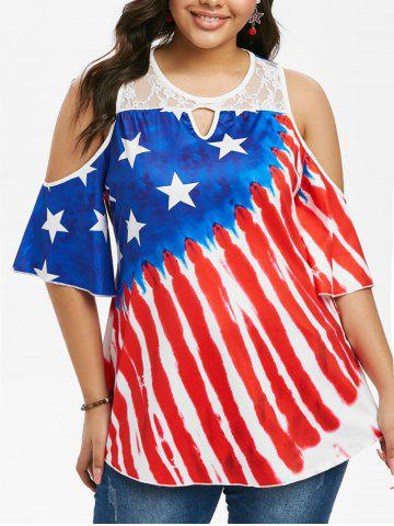 American Flag Cold Shoulder Lace Panel Plus Size Top - RED - 1X