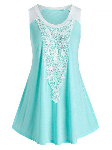 Plus Size Lace Applique Tent Tank Top - LIGHT AQUAMARINE - 1X
