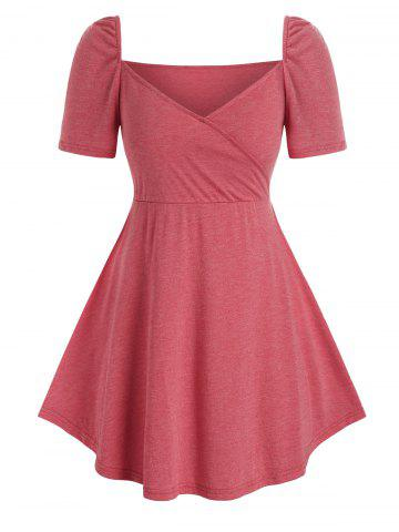 Plus Size Sweetheart Neck Skirted Tee - LIGHT CORAL - 5X