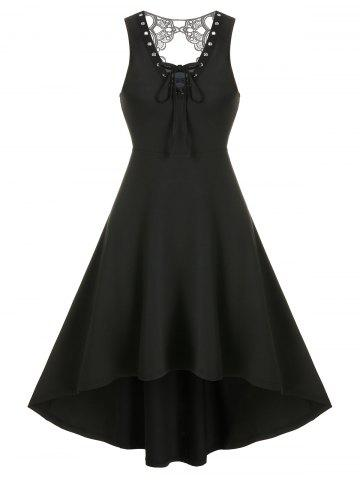 Lace Insert Lace-up Sleeveless High Low Gothic Dress
