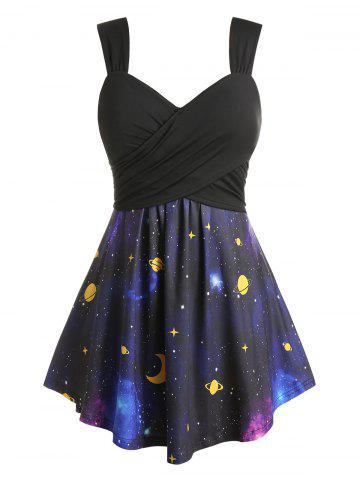 Plus Size Galaxy Planet Print Crossover Square Back Tunic Tank Top