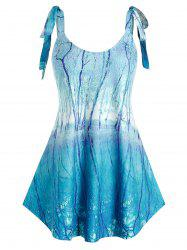 Plus Size Trees Lace Up Strap Tank Top -