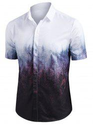 Misty Forest Print Button Up Short Sleeve Shirt -