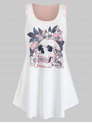 Plus Size Skull Printed Criss Cross Tank Top -