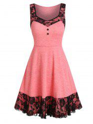 Lace Panel Mock Button Sleeveless A Line Dress -