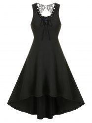 Lace Insert Lace-up Sleeveless High Low Gothic Dress -
