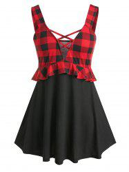 Plus Size Plaid Pattern Criss Cross Tank Top -
