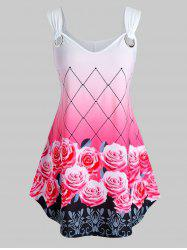 Plus Size Ombre Floral Print Swing Tank Top -