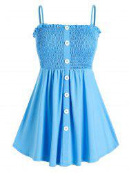 Plus Size Smocked Button Front Frilled Backless Cami Top -